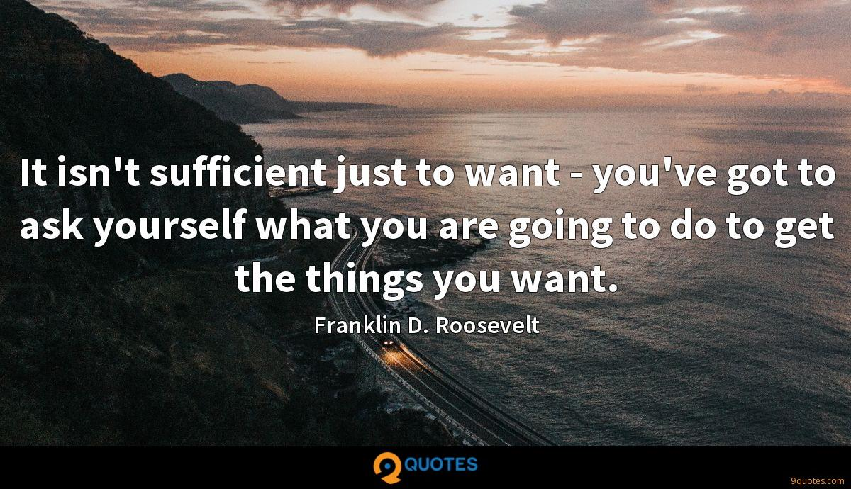 It isn't sufficient just to want - you've got to ask yourself what you are going to do to get the things you want.