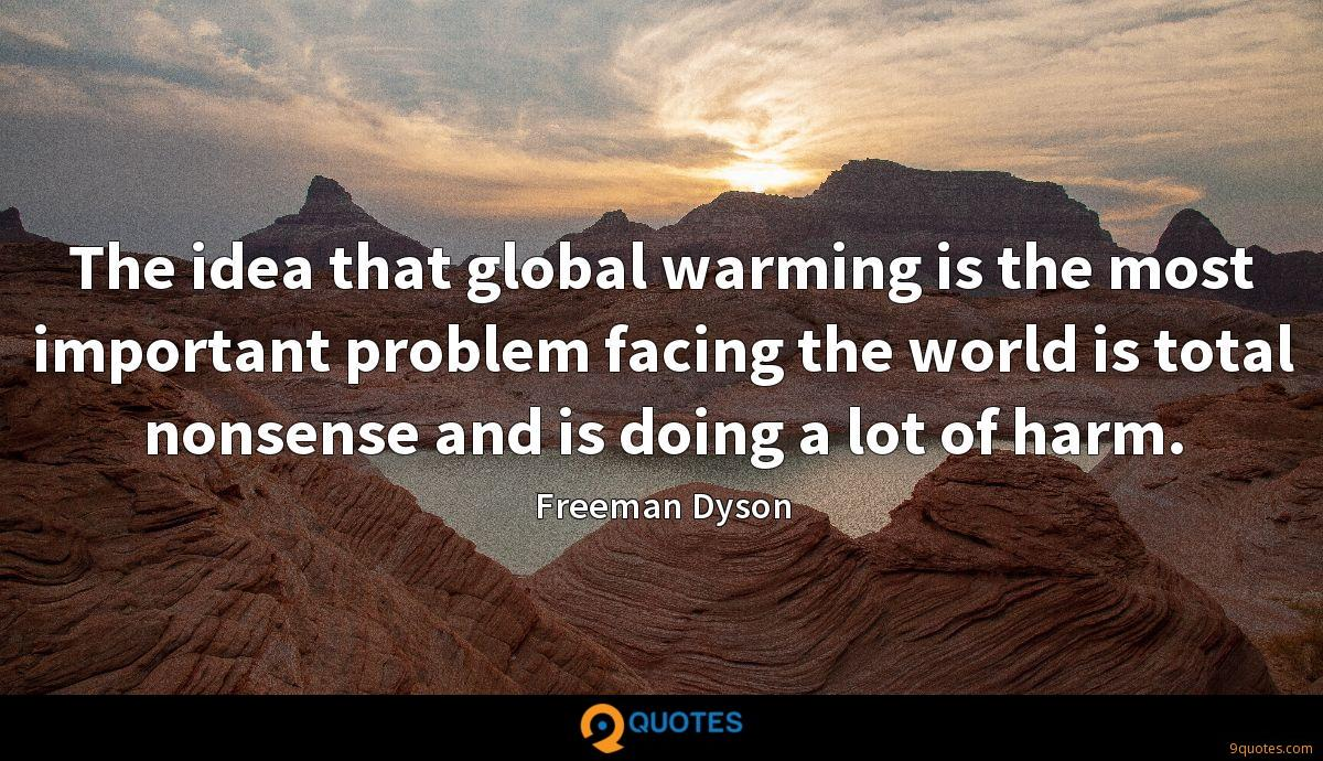 The idea that global warming is the most important problem facing the world is total nonsense and is doing a lot of harm.