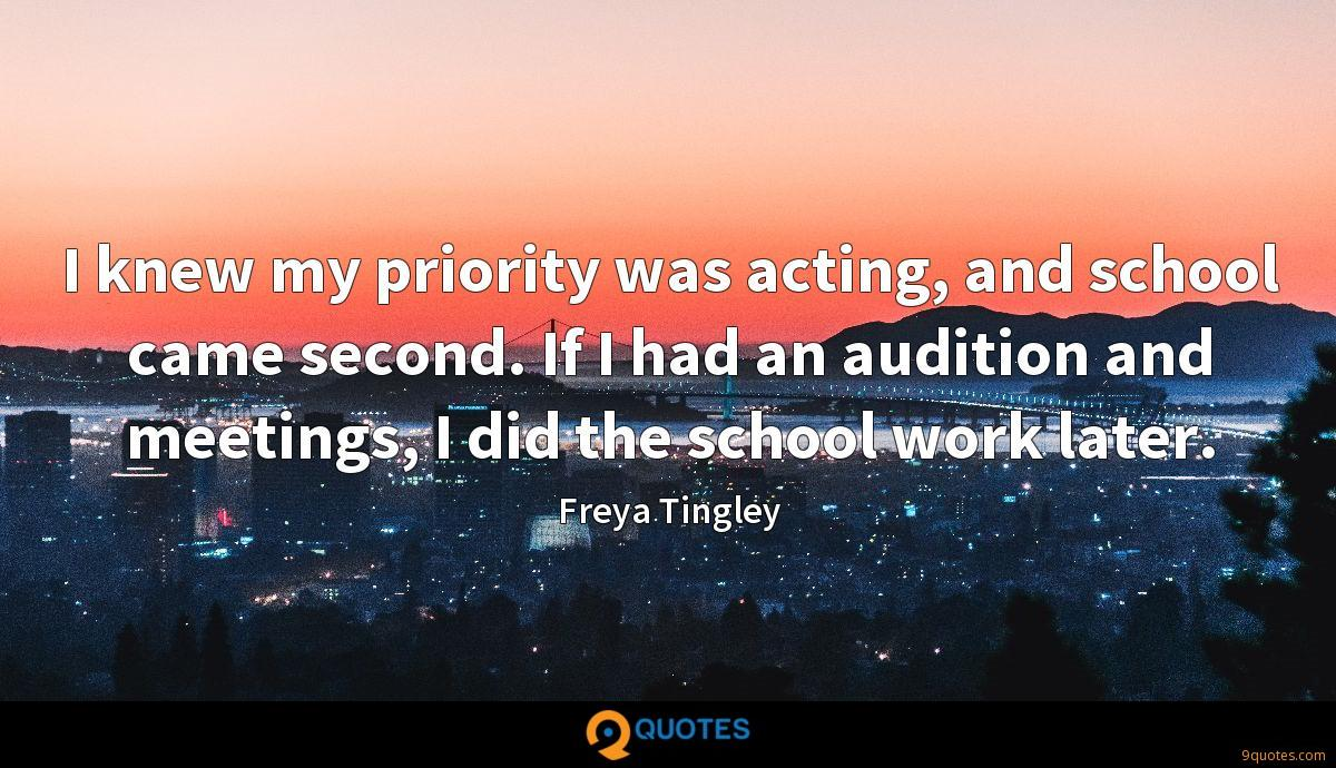 I knew my priority was acting, and school came second. If I had an audition and meetings, I did the school work later.