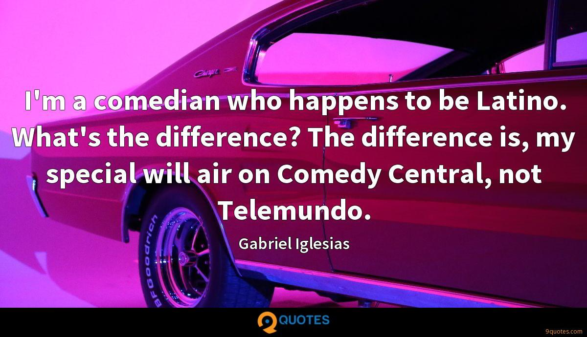 I'm a comedian who happens to be Latino. What's the difference? The difference is, my special will air on Comedy Central, not Telemundo.