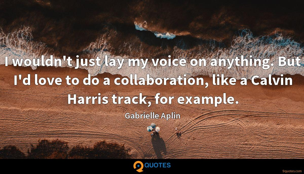 I wouldn't just lay my voice on anything. But I'd love to do a collaboration, like a Calvin Harris track, for example.