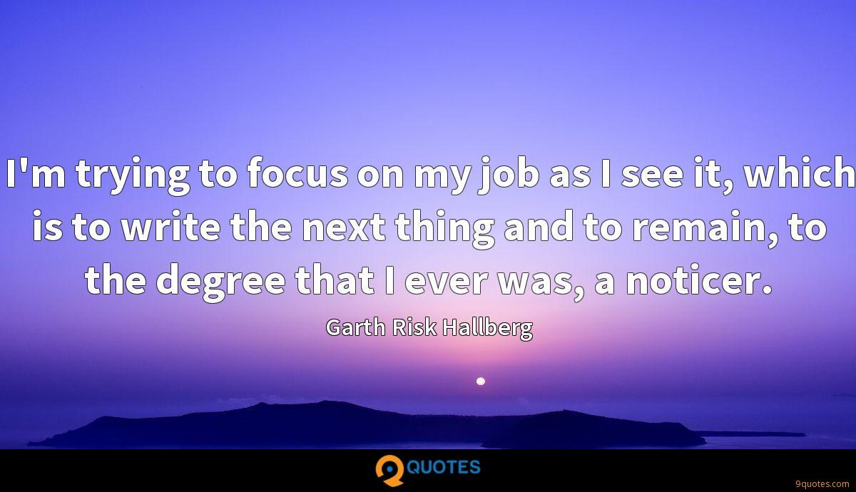 I'm trying to focus on my job as I see it, which is to write the next thing and to remain, to the degree that I ever was, a noticer.