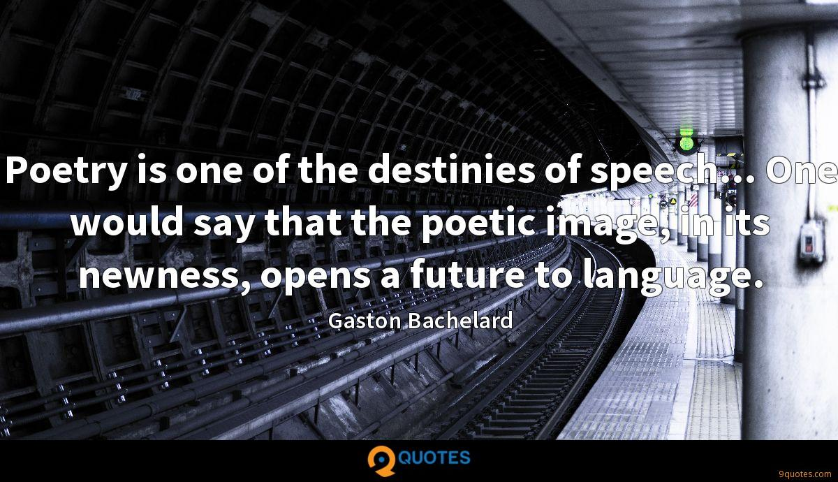 Poetry is one of the destinies of speech... One would say that the poetic image, in its newness, opens a future to language.