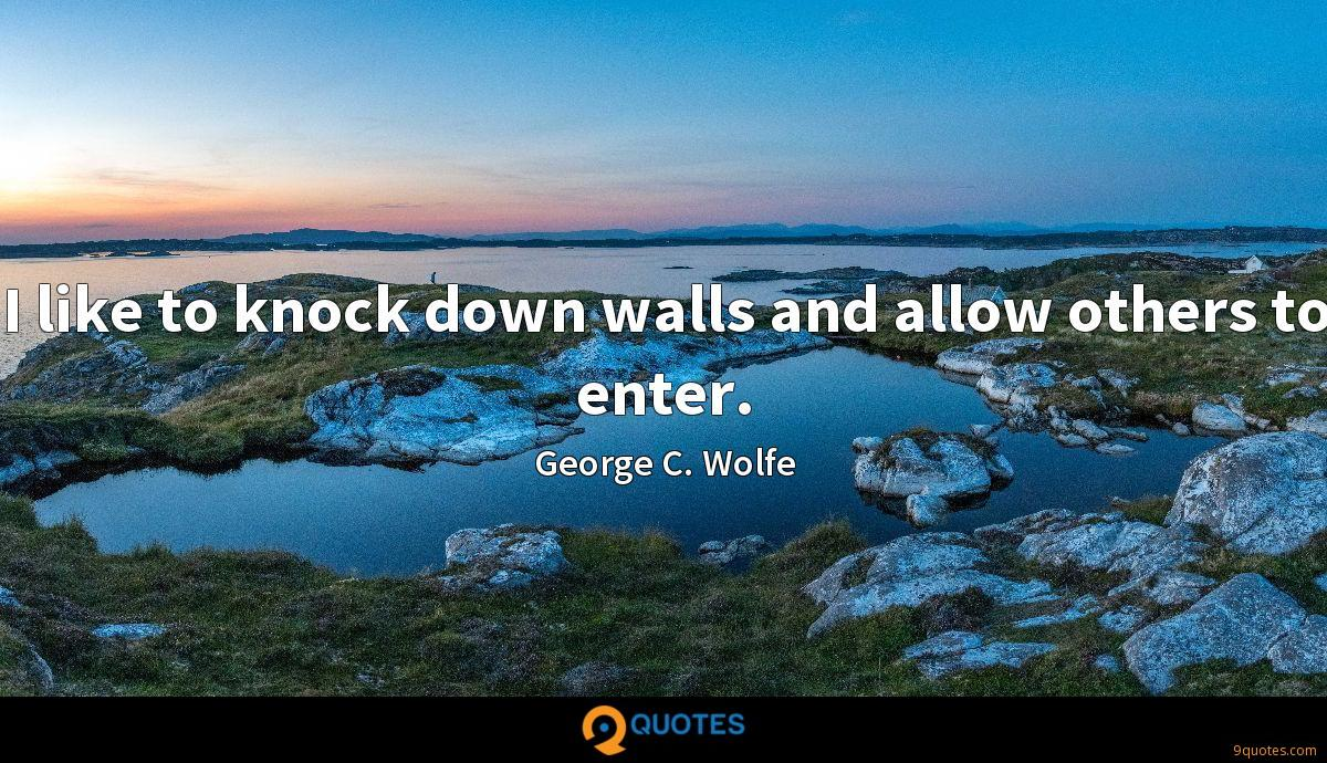 I like to knock down walls and allow others to enter.