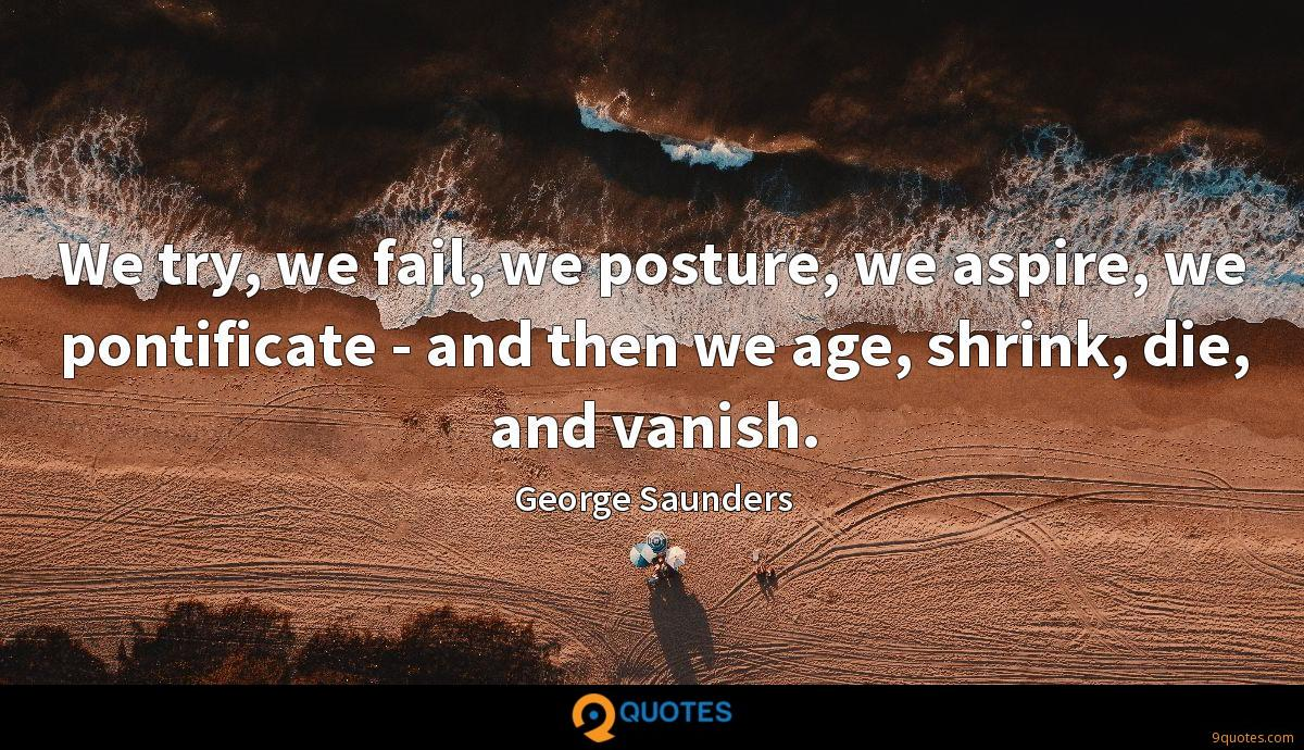 We try, we fail, we posture, we aspire, we pontificate - and then we age, shrink, die, and vanish.