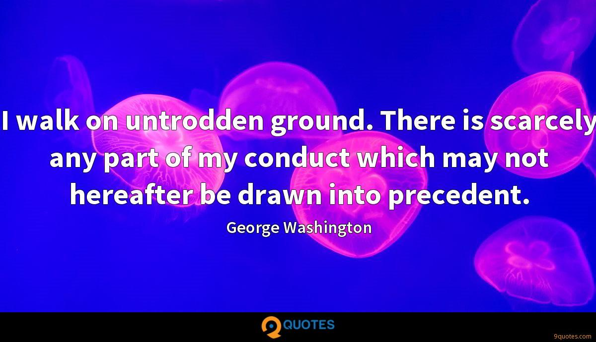 I walk on untrodden ground. There is scarcely any part of my conduct which may not hereafter be drawn into precedent.