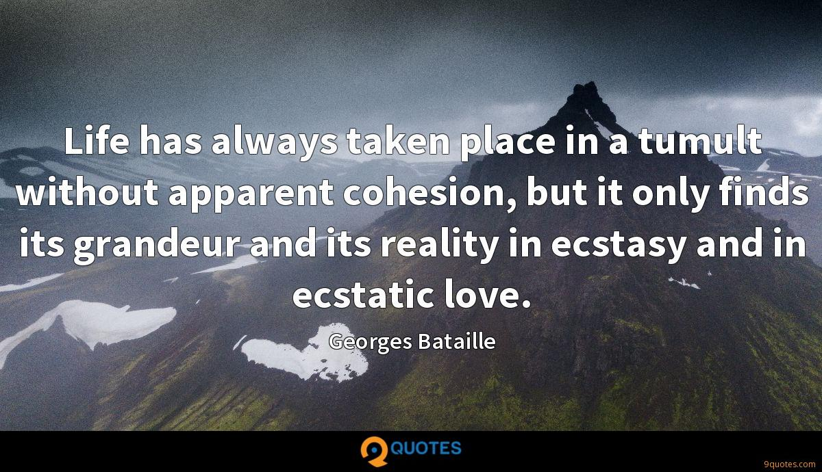 Life has always taken place in a tumult without apparent cohesion, but it only finds its grandeur and its reality in ecstasy and in ecstatic love.
