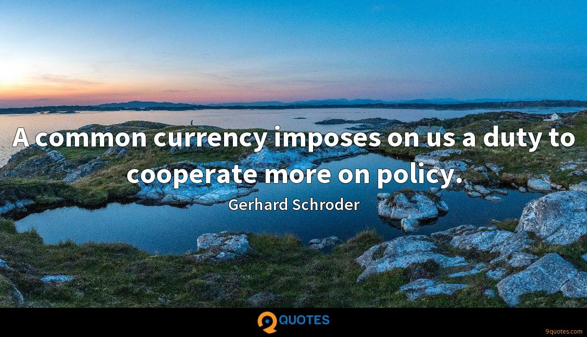 A common currency imposes on us a duty to cooperate more on policy.