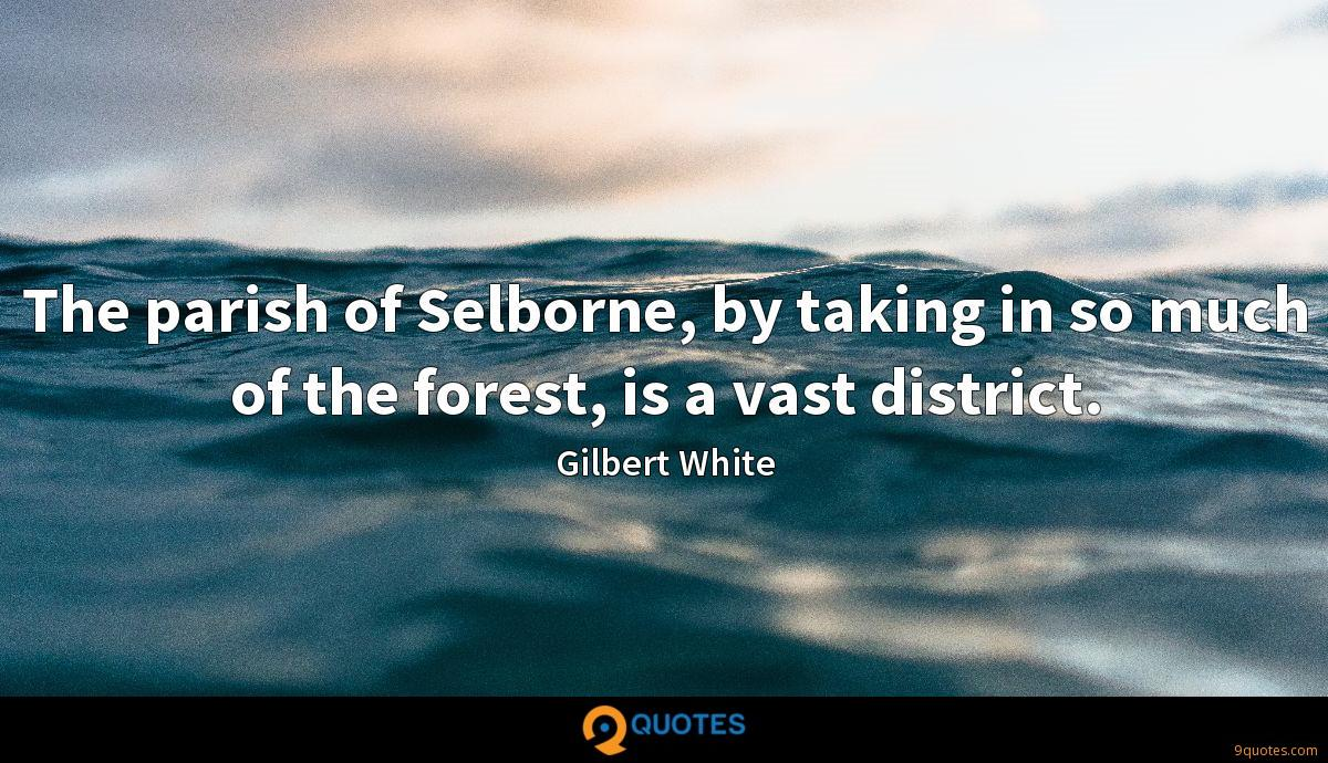 The parish of Selborne, by taking in so much of the forest, is a vast district.