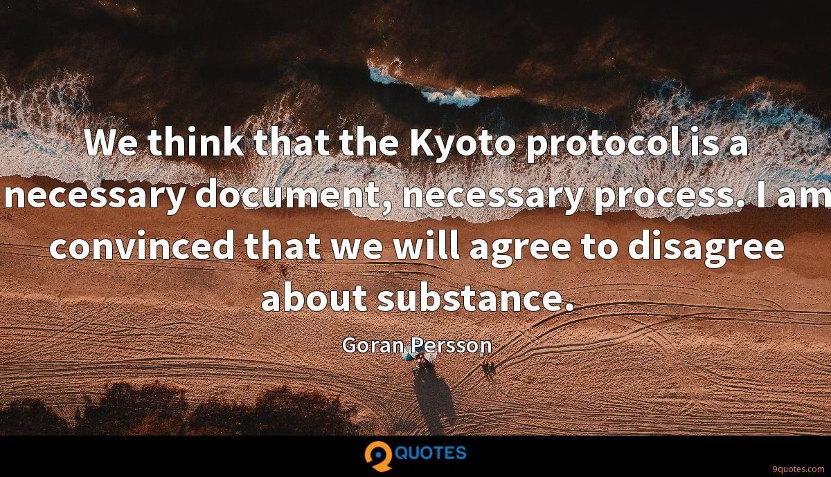 We think that the Kyoto protocol is a necessary document, necessary process. I am convinced that we will agree to disagree about substance.