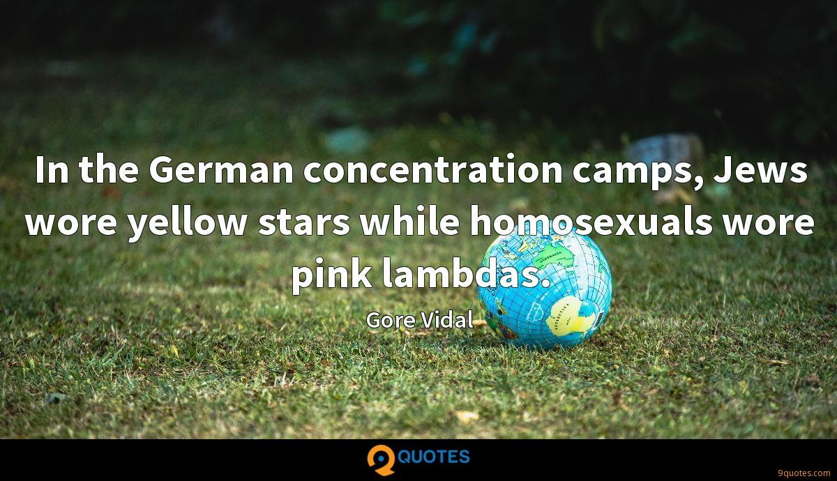 In the German concentration camps, Jews wore yellow stars while homosexuals wore pink lambdas.