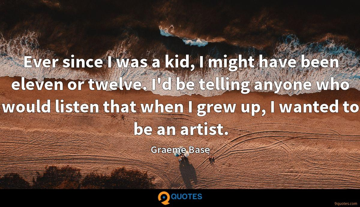 Ever since I was a kid, I might have been eleven or twelve. I'd be telling anyone who would listen that when I grew up, I wanted to be an artist.