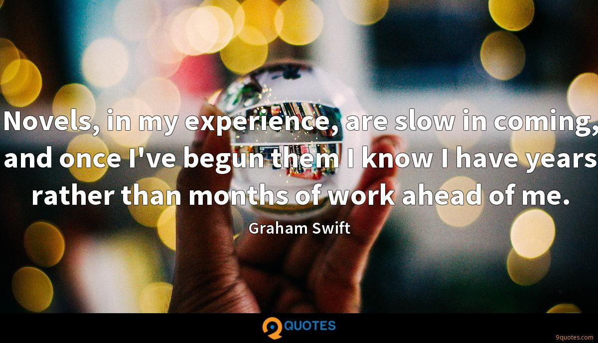 Novels, in my experience, are slow in coming, and once I've begun them I know I have years rather than months of work ahead of me.