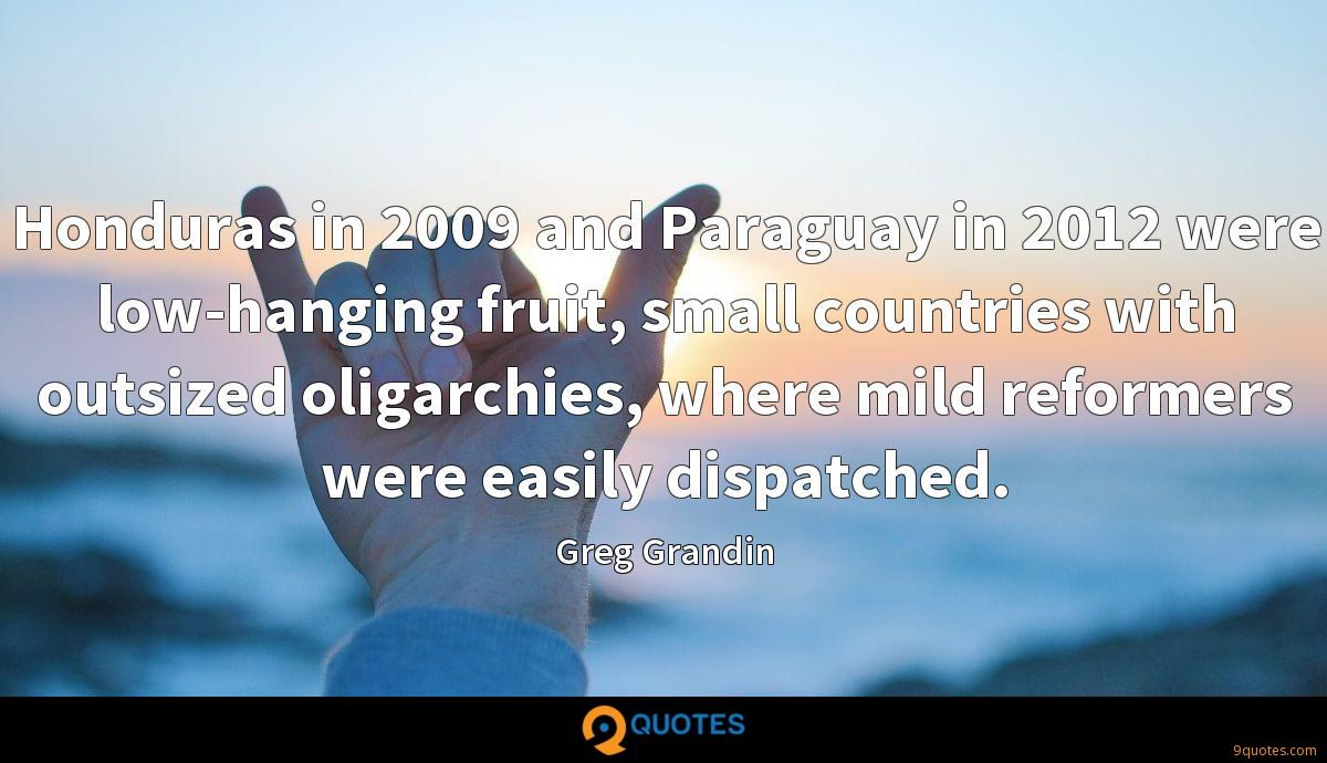 Honduras in 2009 and Paraguay in 2012 were low-hanging fruit, small countries with outsized oligarchies, where mild reformers were easily dispatched.