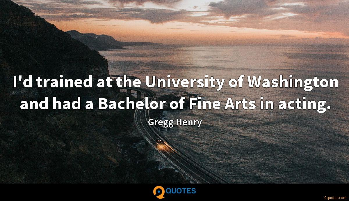 I'd trained at the University of Washington and had a Bachelor of Fine Arts in acting.