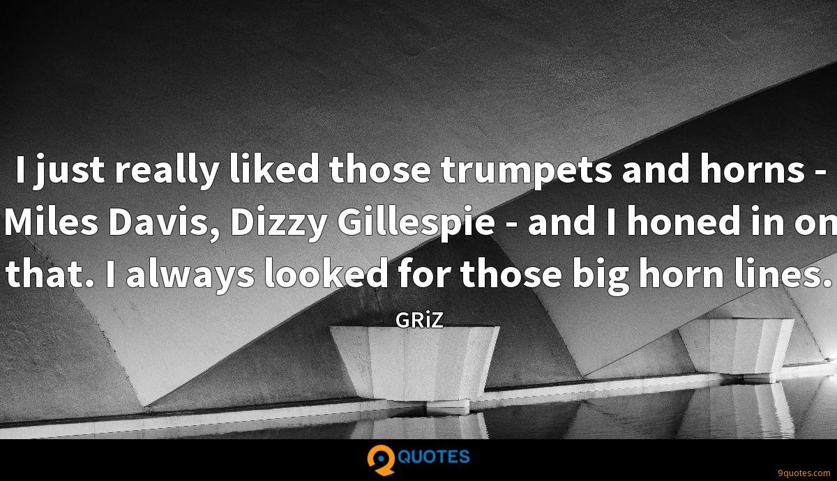 I just really liked those trumpets and horns - Miles Davis, Dizzy Gillespie - and I honed in on that. I always looked for those big horn lines.