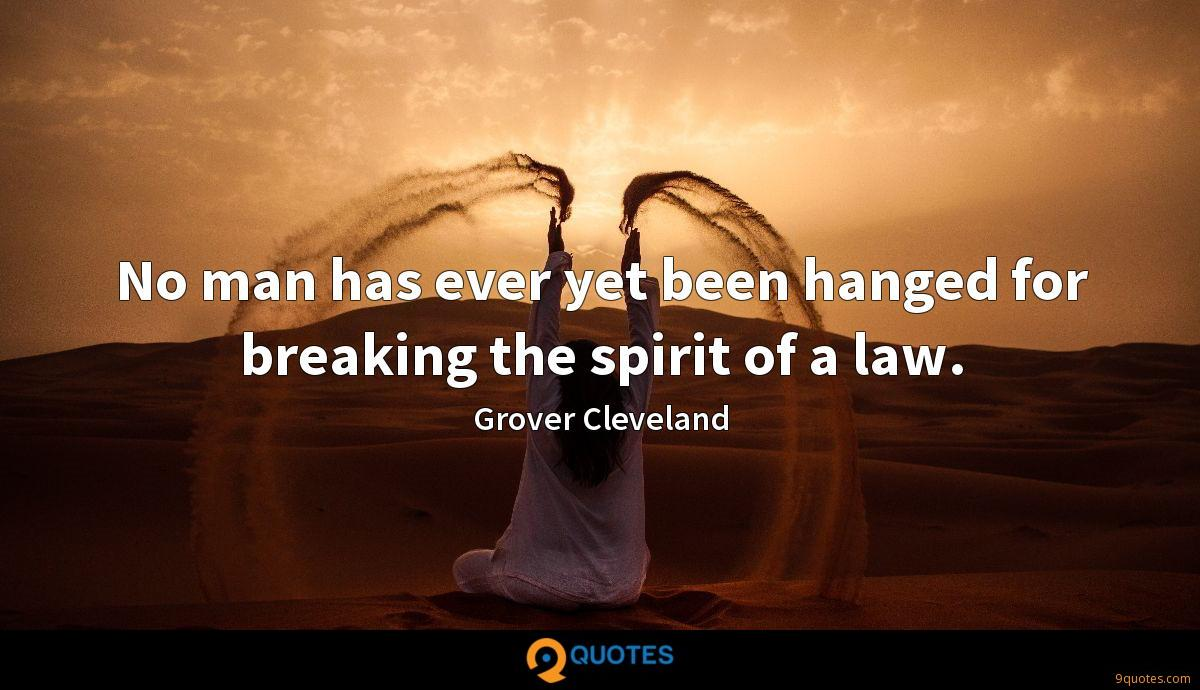No man has ever yet been hanged for breaking the spirit of a law.