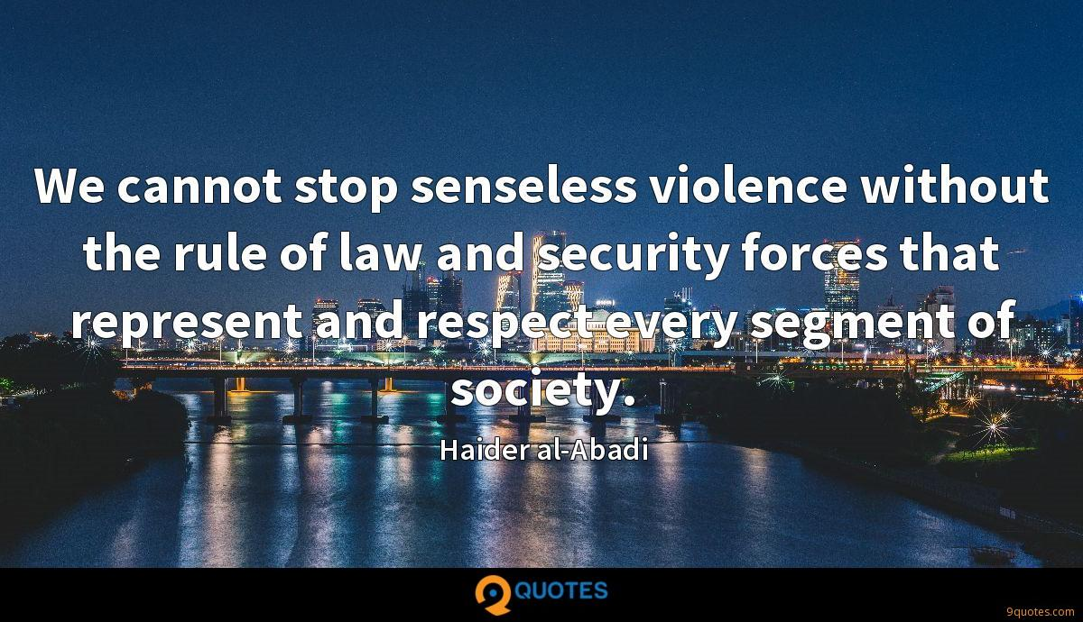 We cannot stop senseless violence without the rule of law and security forces that represent and respect every segment of society.