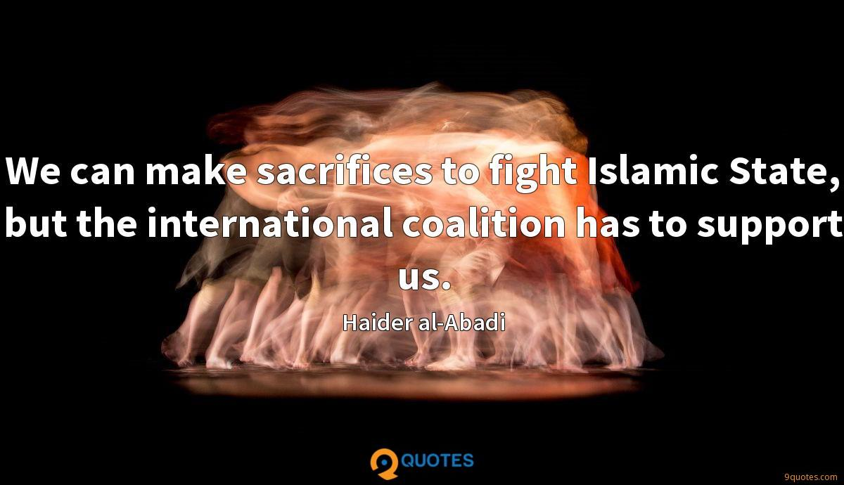 We can make sacrifices to fight Islamic State, but the international coalition has to support us.