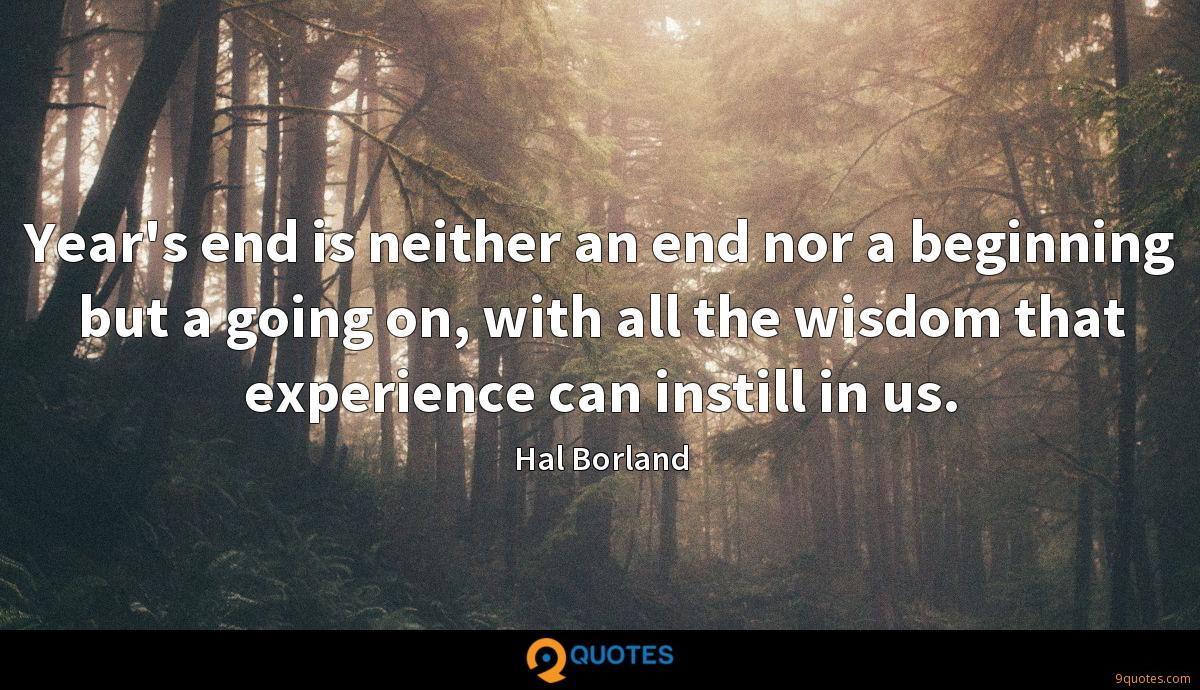 Year's end is neither an end nor a beginning but a going on, with all the wisdom that experience can instill in us.