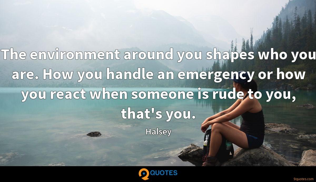 The environment around you shapes who you are. How you handle an emergency or how you react when someone is rude to you, that's you.