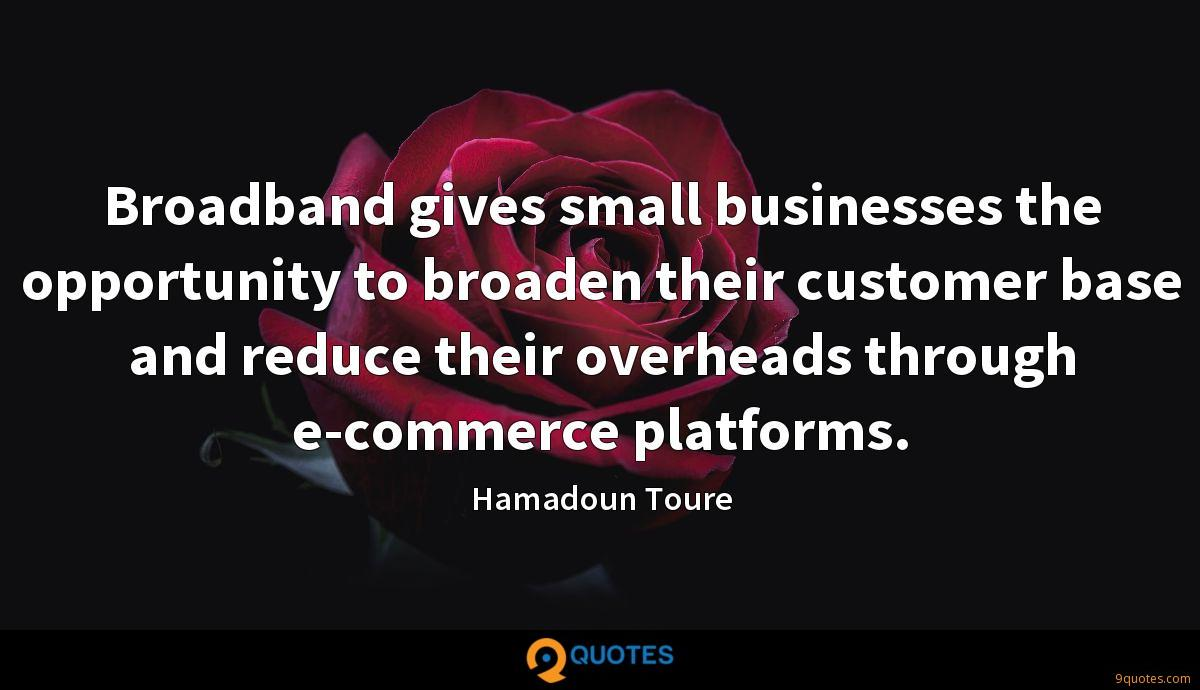 Broadband gives small businesses the opportunity to broaden their customer base and reduce their overheads through e-commerce platforms.