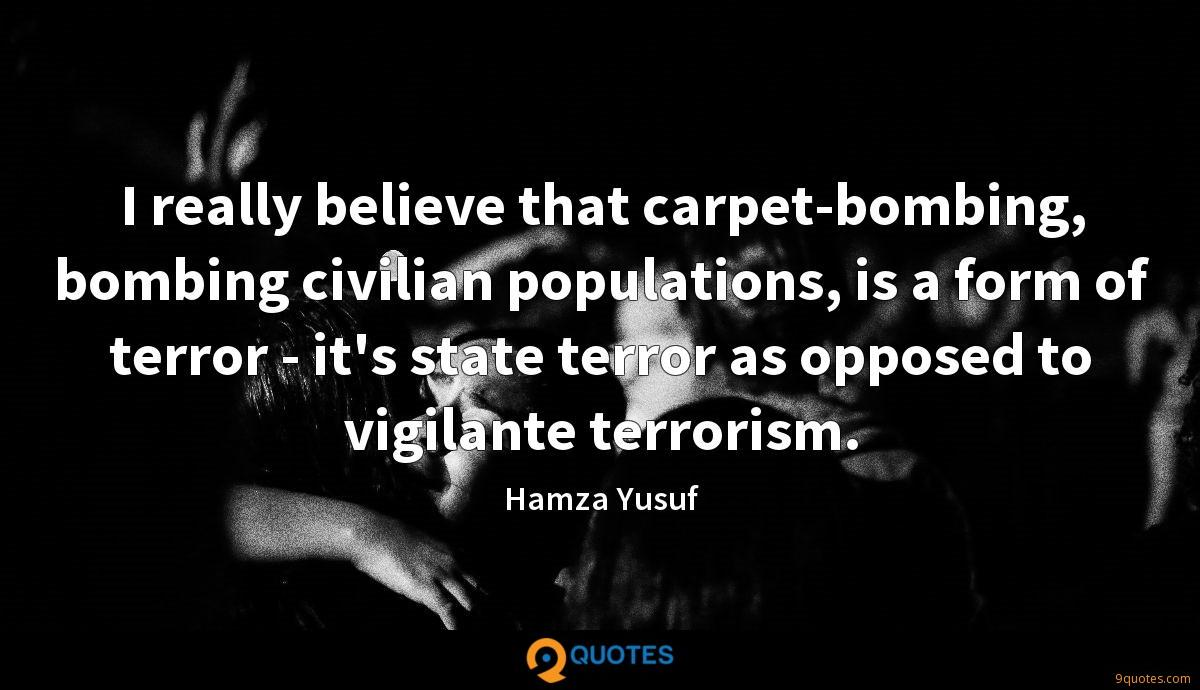 I really believe that carpet-bombing, bombing civilian populations, is a form of terror - it's state terror as opposed to vigilante terrorism.