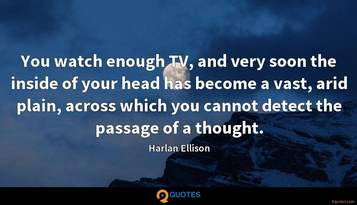 You watch enough TV, and very soon the inside of your head has become a vast, arid plain, across which you cannot detect the passage of a thought.