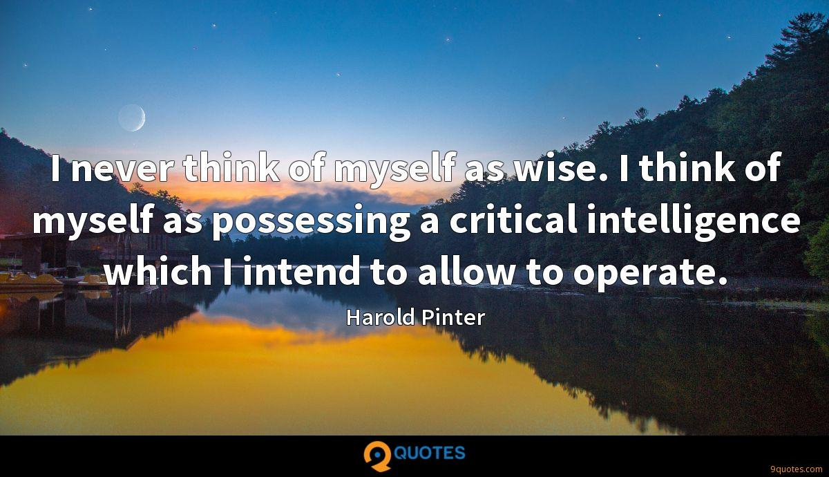 I never think of myself as wise. I think of myself as possessing a critical intelligence which I intend to allow to operate.