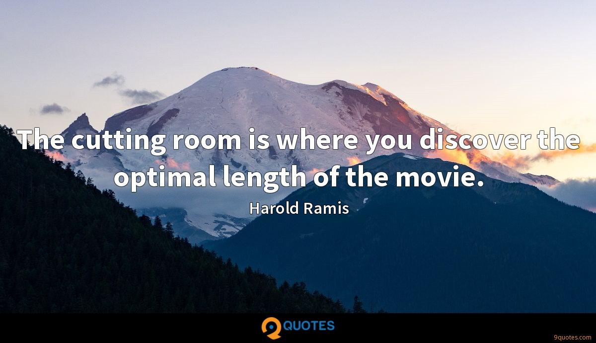 The cutting room is where you discover the optimal length of the movie.