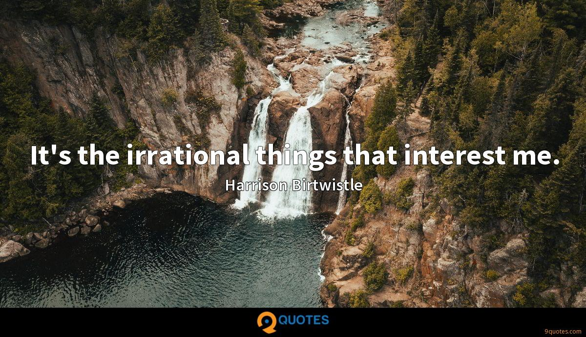 It's the irrational things that interest me.