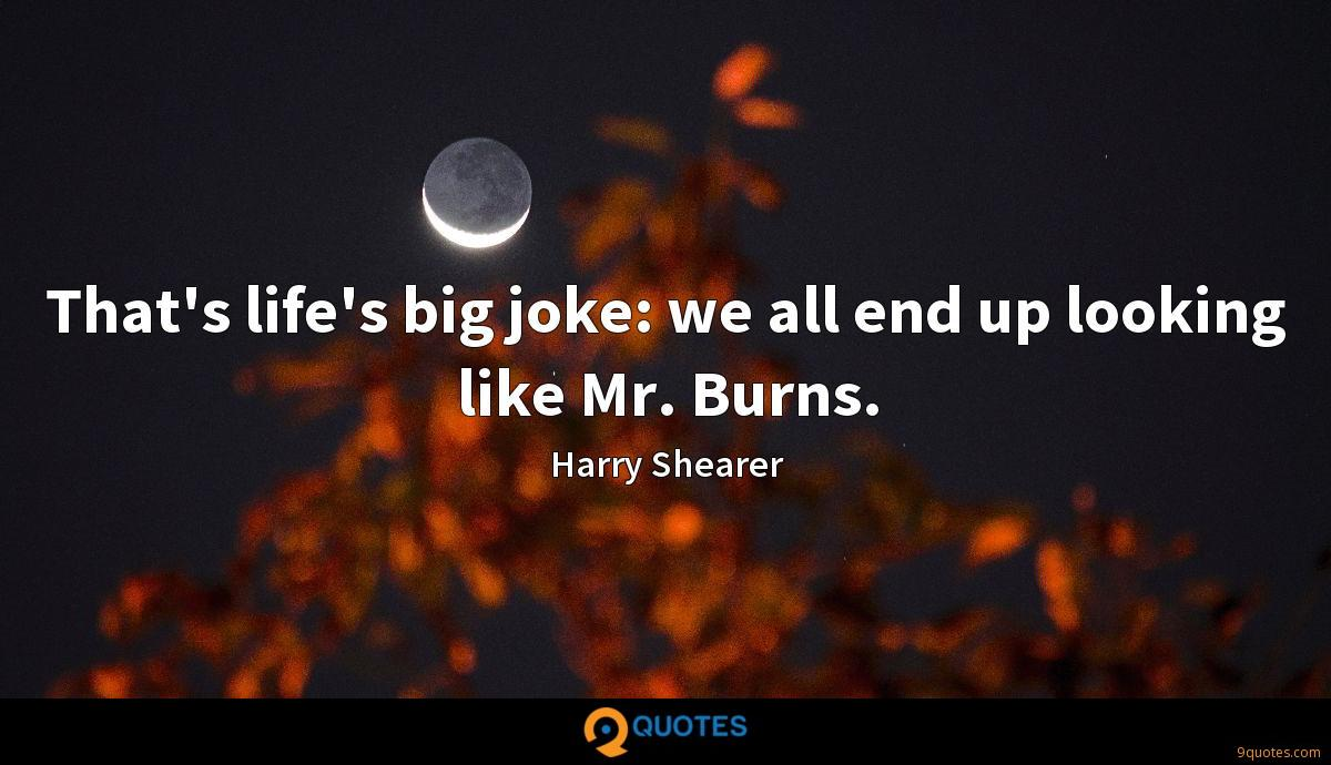 That's life's big joke: we all end up looking like Mr. Burns.