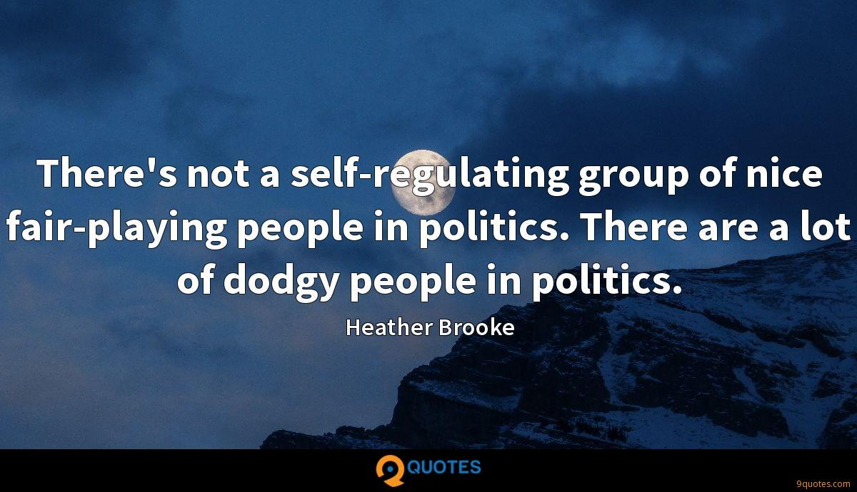 There's not a self-regulating group of nice fair-playing people in politics. There are a lot of dodgy people in politics.