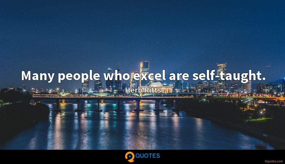 Many people who excel are self-taught.