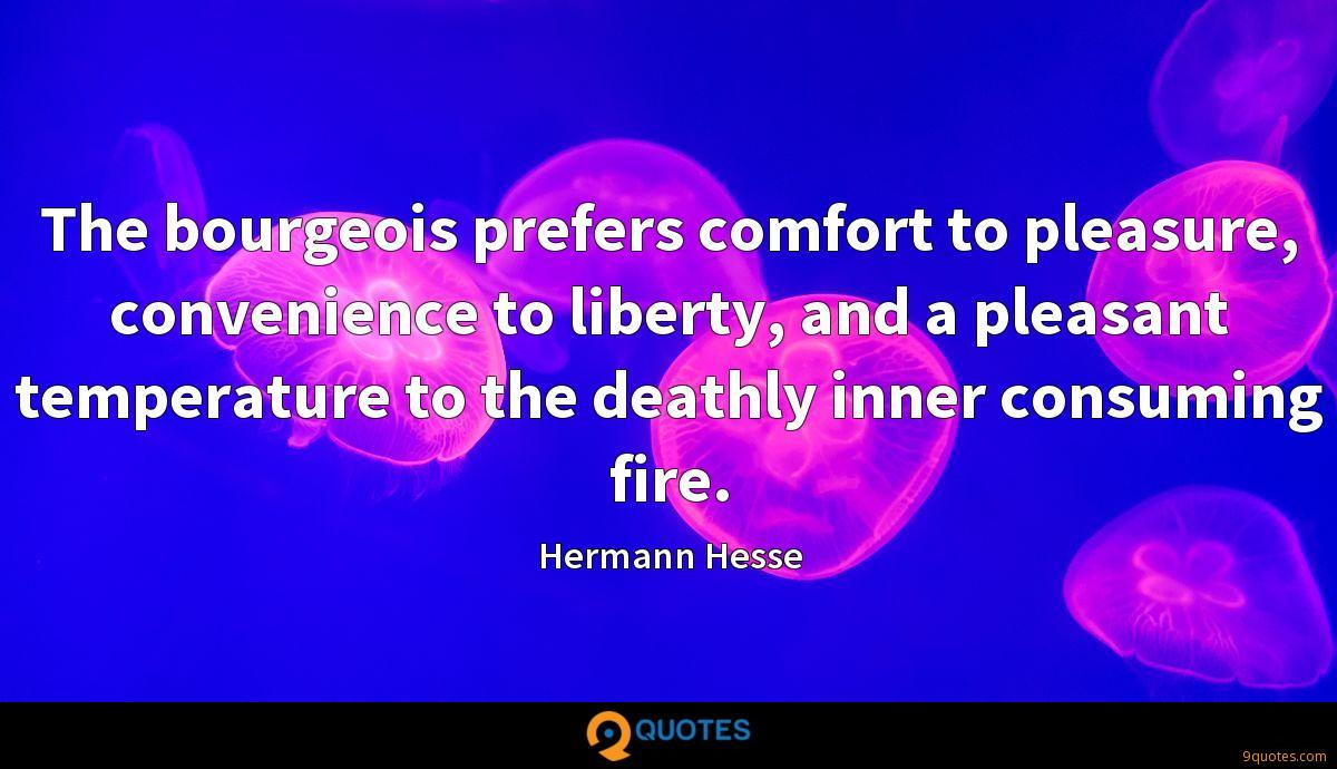 The bourgeois prefers comfort to pleasure, convenience to liberty, and a pleasant temperature to the deathly inner consuming fire.