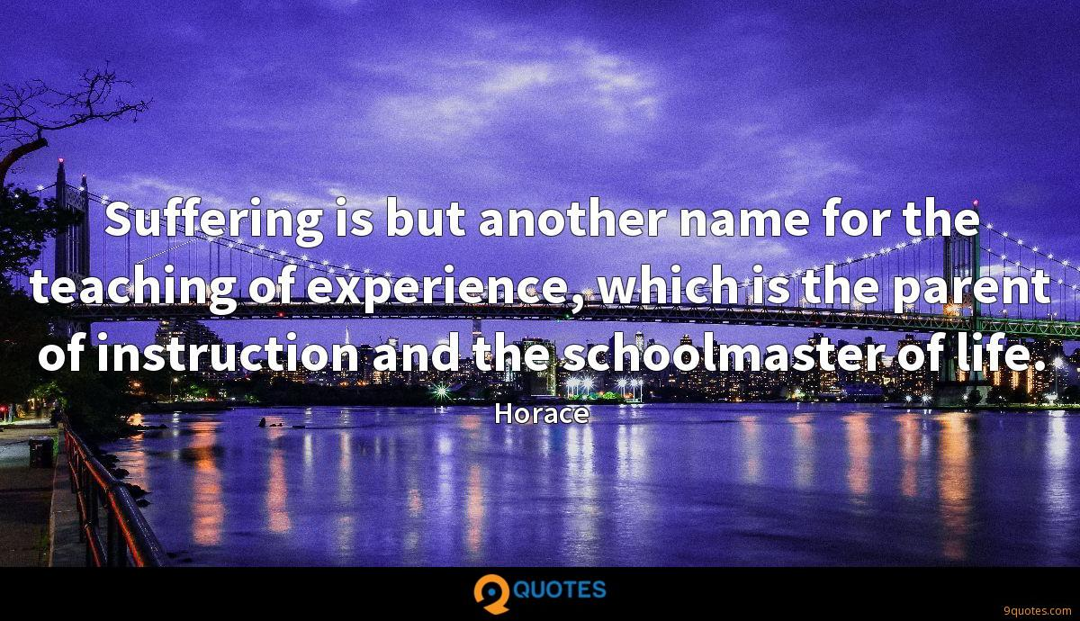 Suffering is but another name for the teaching of experience, which is the parent of instruction and the schoolmaster of life.