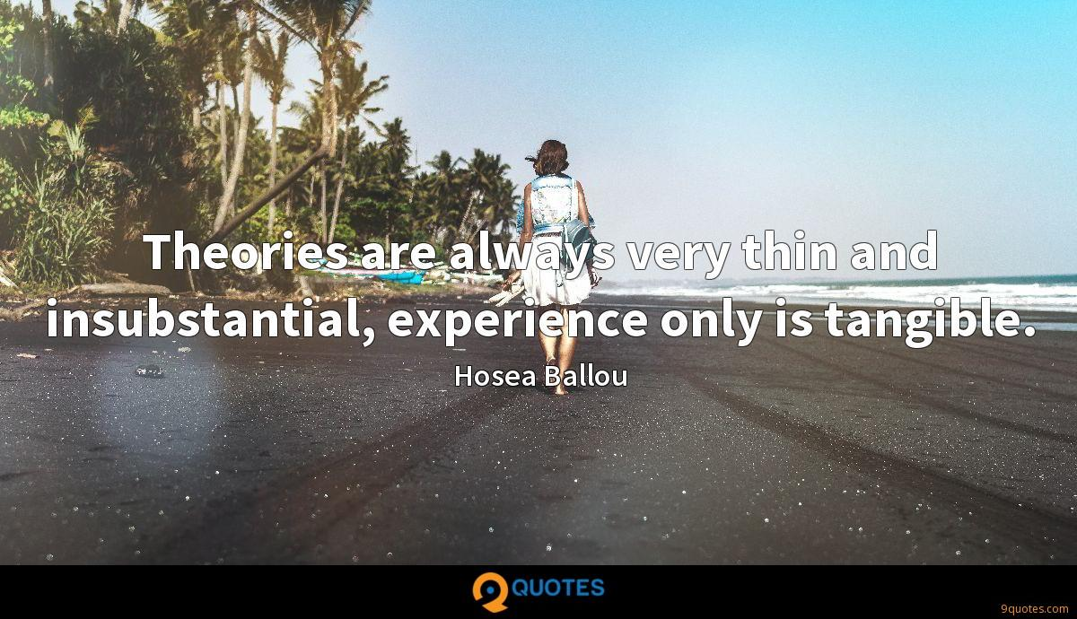 Theories are always very thin and insubstantial, experience only is tangible.
