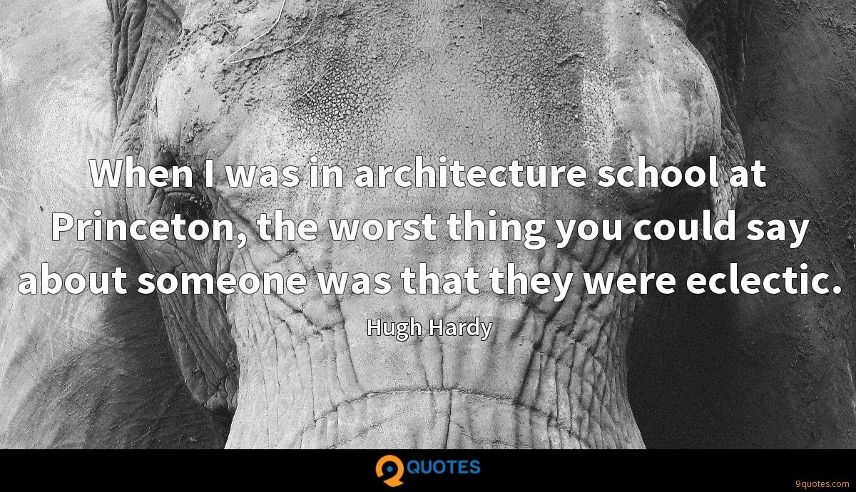 When I was in architecture school at Princeton, the worst thing you could say about someone was that they were eclectic.