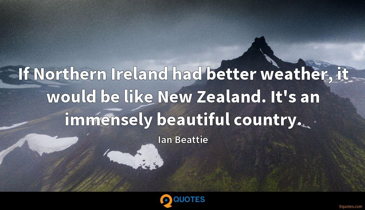 If Northern Ireland had better weather, it would be like New Zealand. It's an immensely beautiful country.
