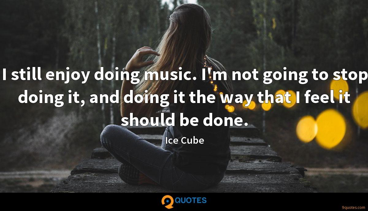 I still enjoy doing music. I'm not going to stop doing it, and doing it the way that I feel it should be done.