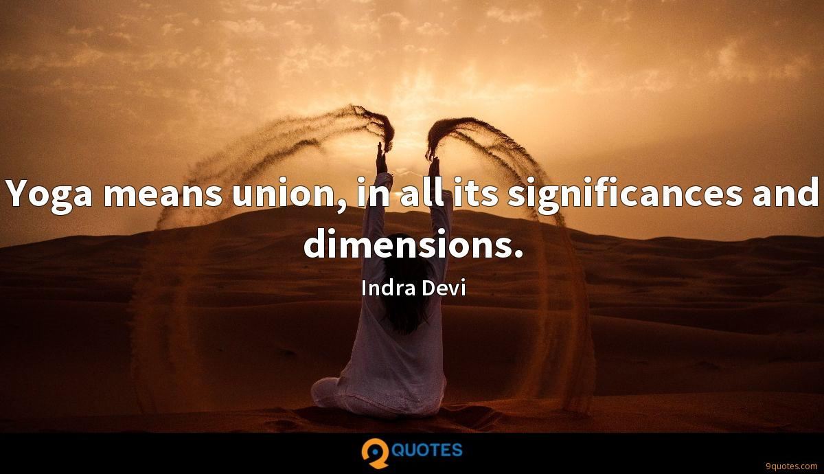 Yoga means union, in all its significances and dimensions.