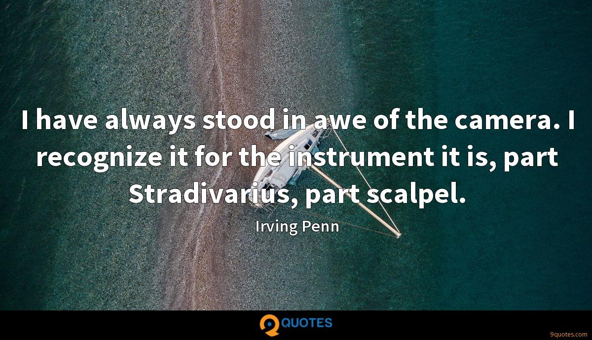 I have always stood in awe of the camera. I recognize it for the instrument it is, part Stradivarius, part scalpel.