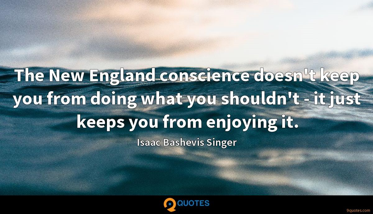 The New England conscience doesn't keep you from doing what you shouldn't - it just keeps you from enjoying it.
