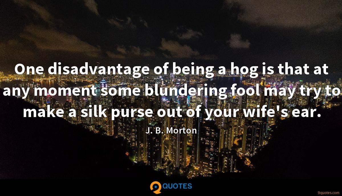 One disadvantage of being a hog is that at any moment some blundering fool may try to make a silk purse out of your wife's ear.
