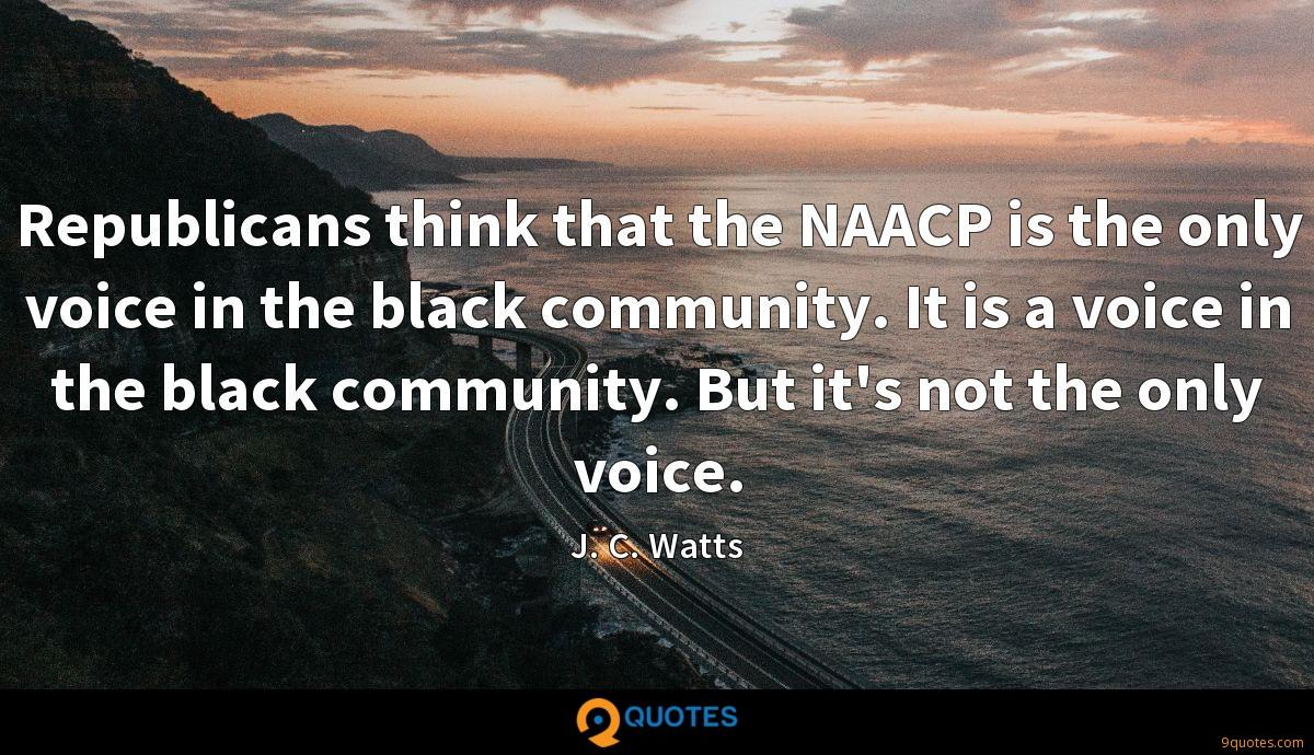 Republicans think that the NAACP is the only voice in the black community. It is a voice in the black community. But it's not the only voice.