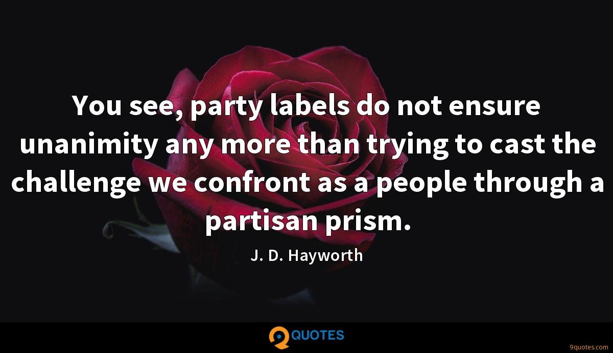 You see, party labels do not ensure unanimity any more than trying to cast the challenge we confront as a people through a partisan prism.