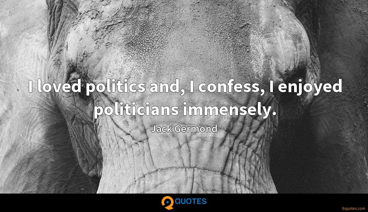 I loved politics and, I confess, I enjoyed politicians immensely.