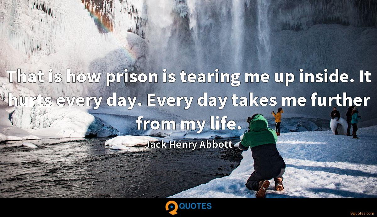 That is how prison is tearing me up inside. It hurts every day. Every day takes me further from my life.
