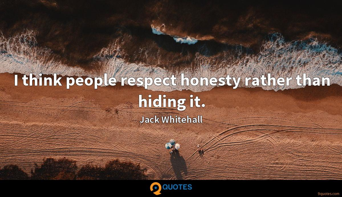 I think people respect honesty rather than hiding it.