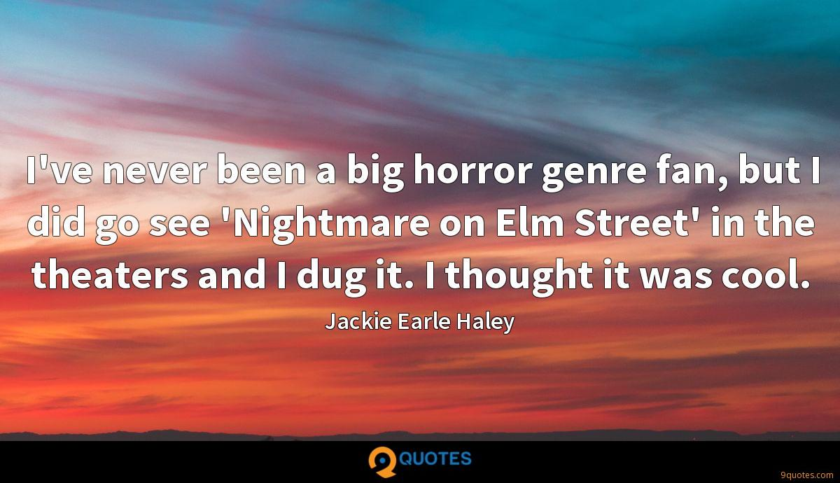I've never been a big horror genre fan, but I did go see 'Nightmare on Elm Street' in the theaters and I dug it. I thought it was cool.